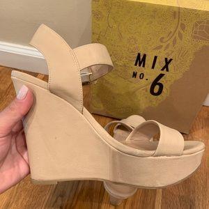 Mix No. 6 Shoes - Mix No.6 Jordie wedges in Bone size 8